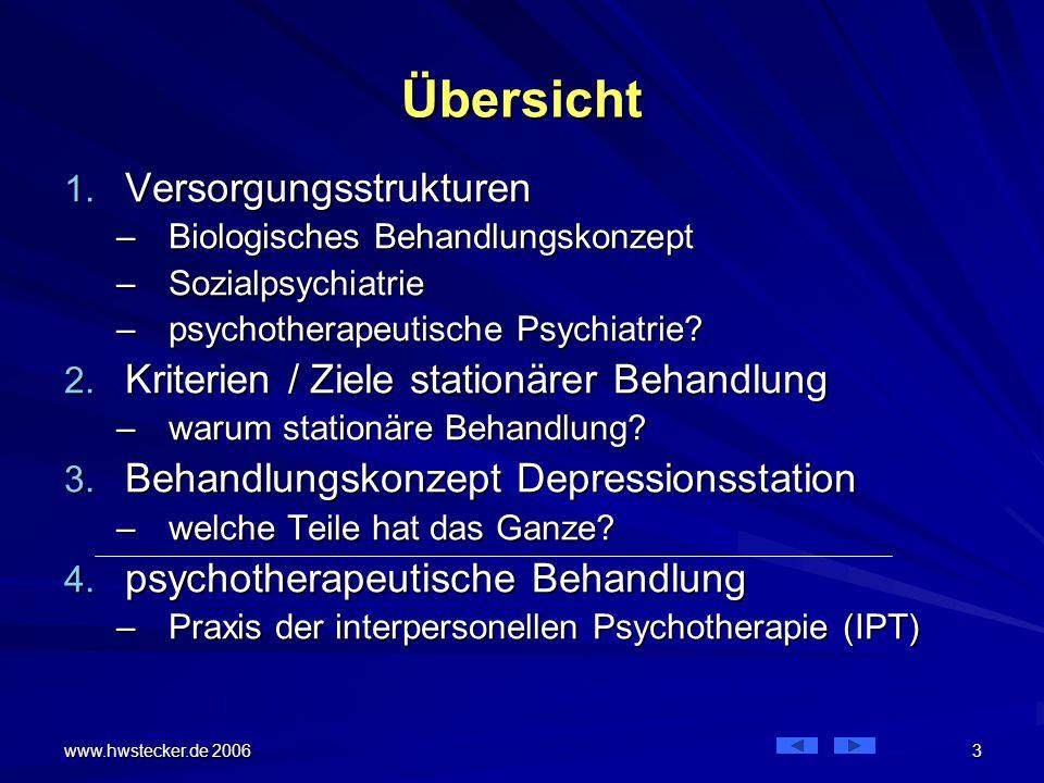 www.hwstecker.de 2006 44 Depressionsstation Patienten erleben diesen Prozess als eine direkte Hilfe in der Auseinandersetzung mit ihrem Problem, –die zugleich eine harte Arbeit (mit viel Tränen) erfordert.