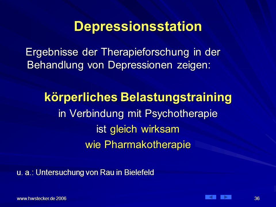 www.hwstecker.de 2006 36 Depressionsstation Ergebnisse der Therapieforschung in der Behandlung von Depressionen zeigen: Ergebnisse der Therapieforschung in der Behandlung von Depressionen zeigen: körperliches Belastungstraining in Verbindung mit Psychotherapie ist gleich wirksam wie Pharmakotherapie u.
