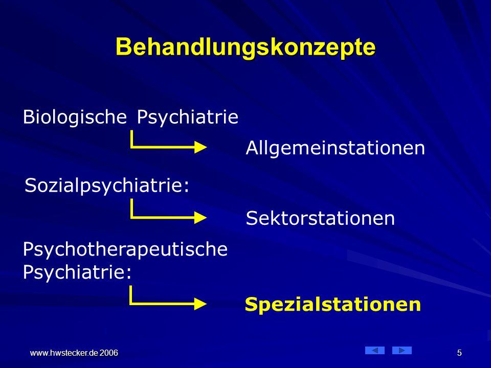 www.hwstecker.de 2006 5 Behandlungskonzepte Biologische Psychiatrie Sozialpsychiatrie: Psychotherapeutische Psychiatrie: Allgemeinstationen Sektorstationen Spezialstationen