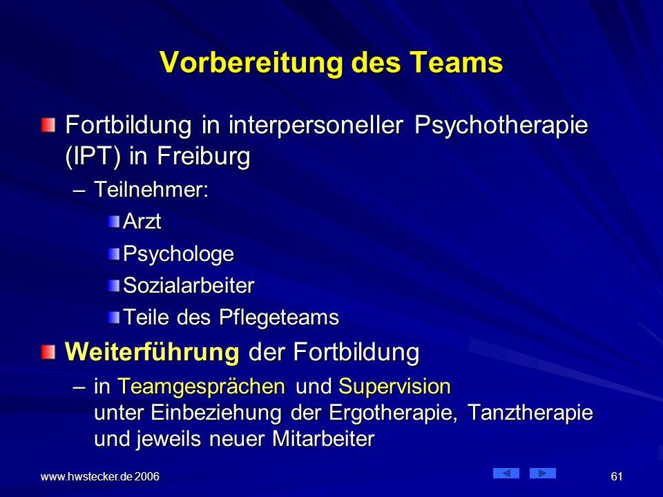 www.hwstecker.de 2006 61 Vorbereitung des Teams Fortbildung in interpersoneller Psychotherapie (IPT) in Freiburg –Teilnehmer: ArztPsychologeSozialarbeiter Teile des Pflegeteams Weiterführung der Fortbildung –in Teamgesprächen und Supervision unter Einbeziehung der Ergotherapie, Tanztherapie und jeweils neuer Mitarbeiter