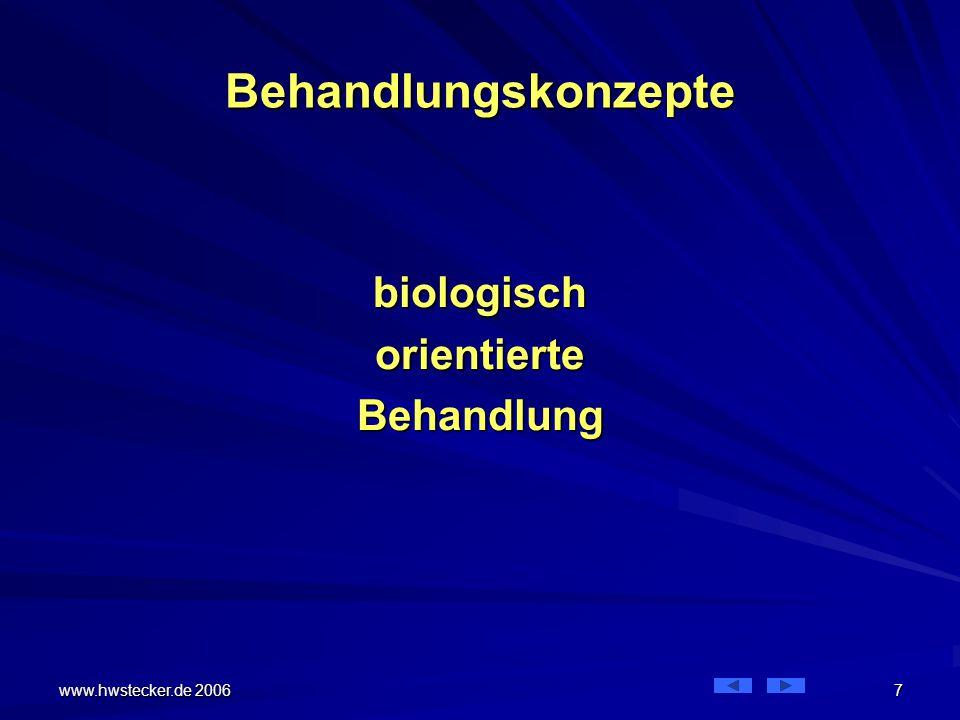 www.hwstecker.de 2006 18 Biologisches Behandlungskonzept Problem 1: weniger Zeit Diese Behandlung lässt sich gegenüber Kassen nur noch sehr begrenzt zeitlich rechtfertigen Die Verweildauer sinkt dramatisch Bei weiter steigenden Fallzahlen