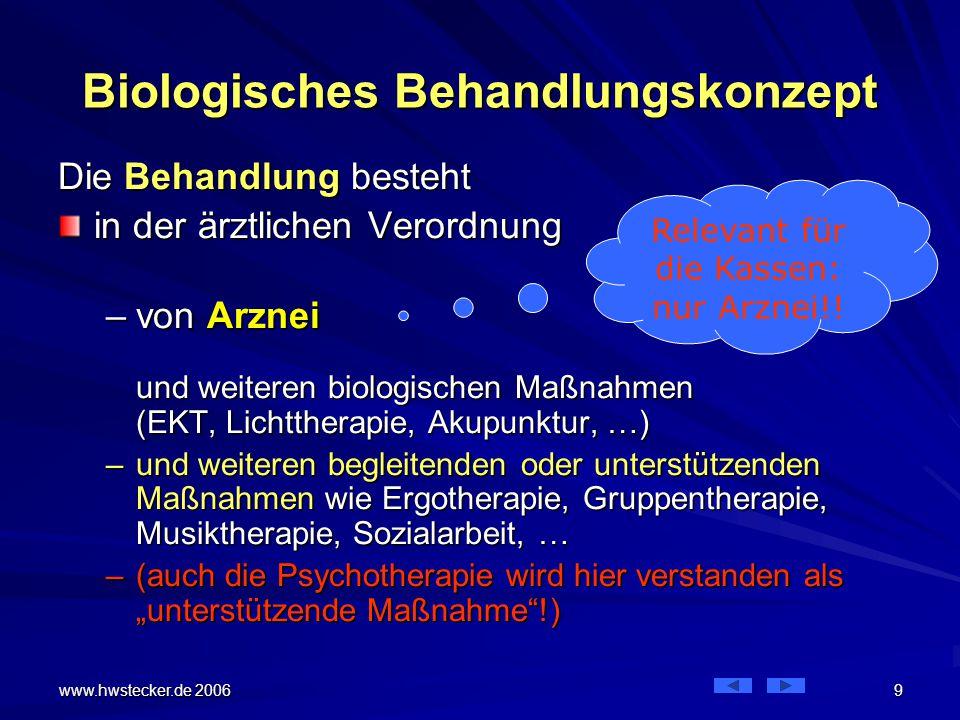 """www.hwstecker.de 2006 10 Biologisches Behandlungskonzept Das Behandlungskonzept für Depression gleicht dem einer somatischen Erkrankung Die Betrachtung und die Behandlung zielen nur auf den einzelnen Patienten Patienten verschiedener Störungsbilder werden nebeneinander behandelt –die """"chronische Schizophrenie neben der """"akuten Paranoia und der """"Depression –Ähnlich wie der """"Blinddarm neben der """"Niere liegt"""