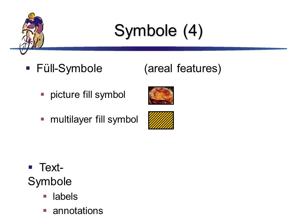 Symbole (4)  Füll-Symbole(areal features)  picture fill symbol  Text- Symbole  labels  annotations  multilayer fill symbol