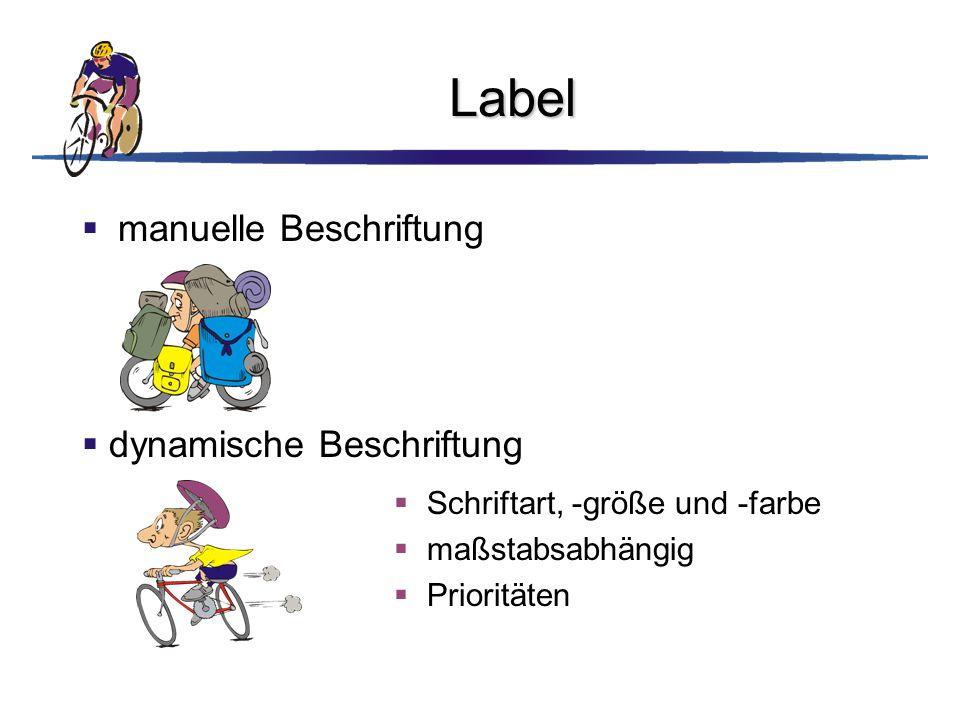 Label  manuelle Beschriftung  Schriftart, -größe und -farbe  maßstabsabhängig  Prioritäten  dynamische Beschriftung