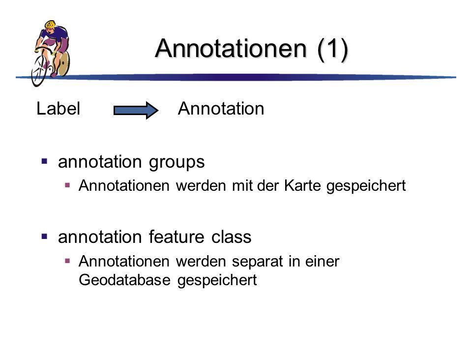 Annotationen (1)  annotation groups  Annotationen werden mit der Karte gespeichert  annotation feature class  Annotationen werden separat in einer