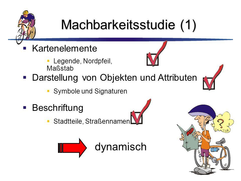 Machbarkeitsstudie (1)  Kartenelemente  Legende, Nordpfeil, Maßstab  Darstellung von Objekten und Attributen  Symbole und Signaturen  Beschriftun