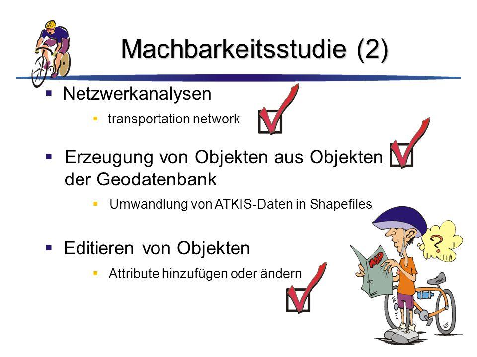 Machbarkeitsstudie (2)  Netzwerkanalysen  transportation network  Editieren von Objekten  Attribute hinzufügen oder ändern  Erzeugung von Objekte