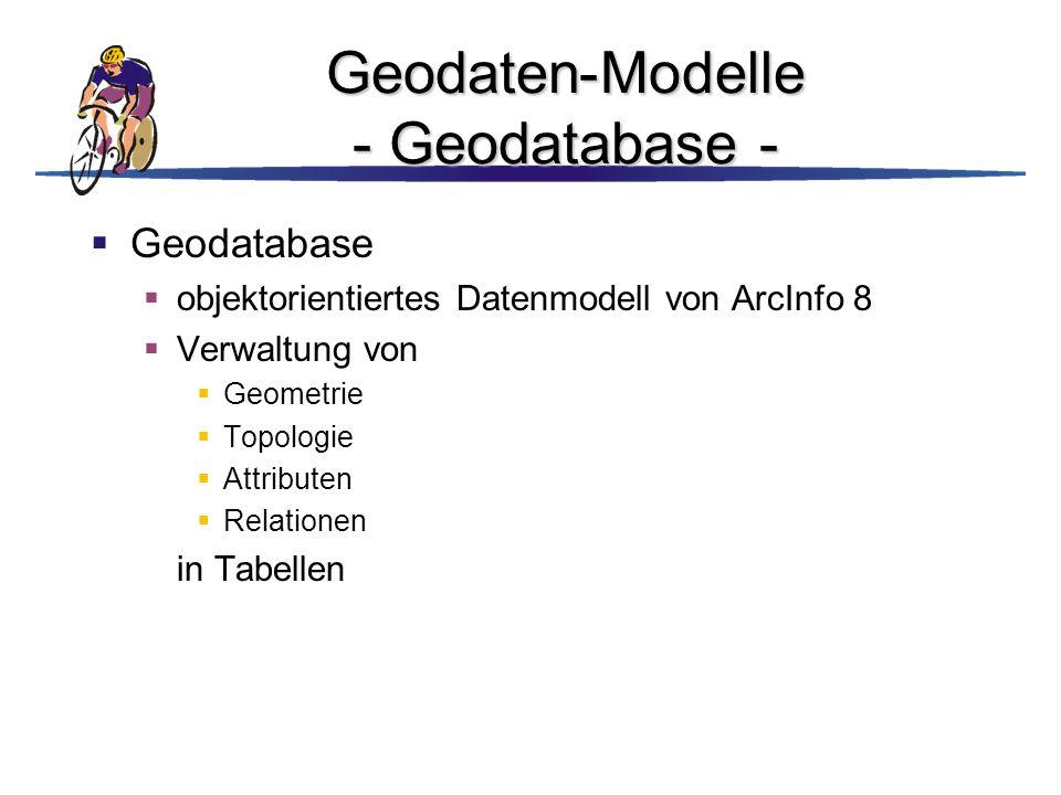 Geodaten-Modelle - Geodatabase -  Geodatabase  objektorientiertes Datenmodell von ArcInfo 8  Verwaltung von  Geometrie  Topologie  Attributen 