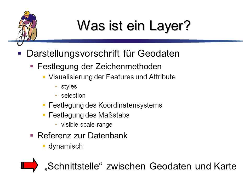 Was ist ein Layer?  Darstellungsvorschrift für Geodaten  Festlegung der Zeichenmethoden  Visualisierung der Features und Attribute styles selection