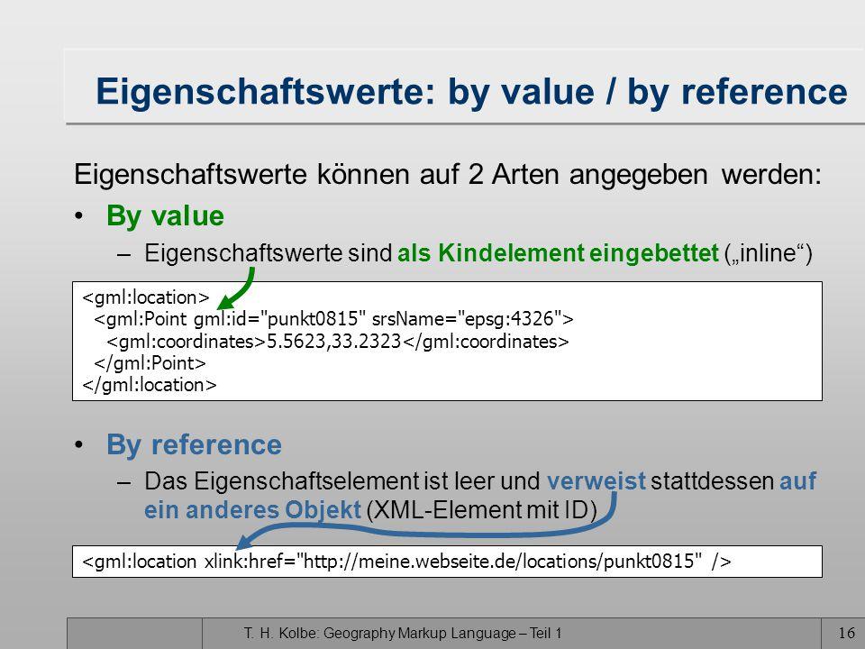 T. H. Kolbe: Geography Markup Language – Teil 1 15 Repräsentation von Eigenschaften Eigenschaften (Properties) in GML3 ausschließlich durch Kindelemen