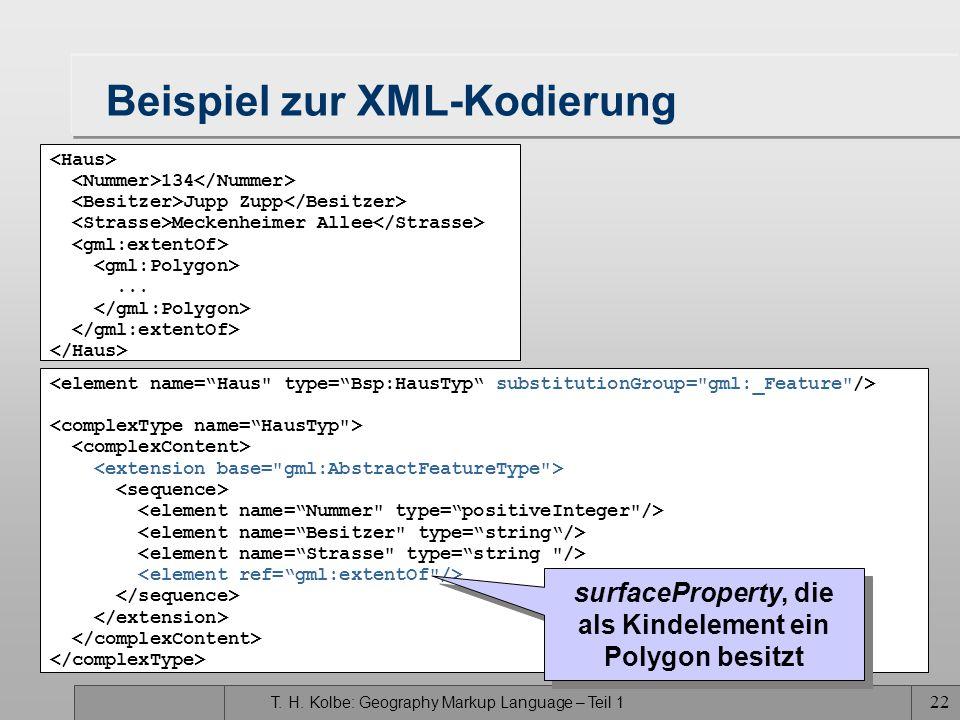 T. H. Kolbe: Geography Markup Language – Teil 1 21 XML-Kodierung von GML-Features (III) Features dürfen beliebig viele nichtgeometrische Eigenschaften