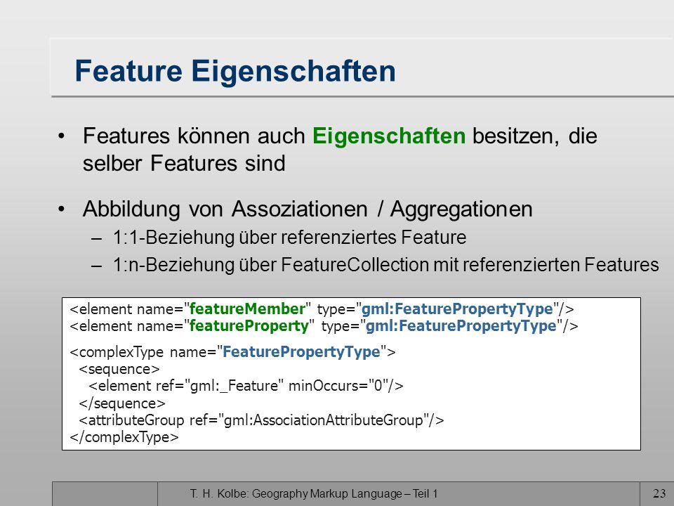 T. H. Kolbe: Geography Markup Language – Teil 1 22 Beispiel zur XML-Kodierung 134 Jupp Zupp Meckenheimer Allee... surfaceProperty, die als Kindelement