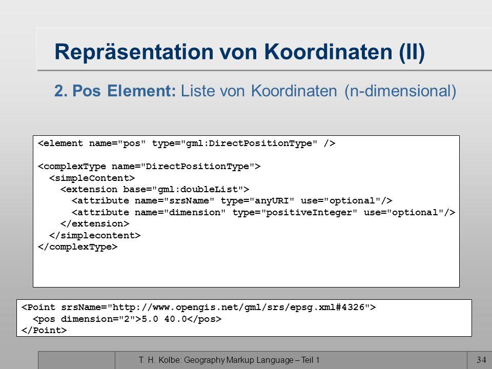 T. H. Kolbe: Geography Markup Language – Teil 1 33 Repräsentation von Koordinaten (I) 1. Coordinates Element: Liste von Koordinaten Die syntaktische V