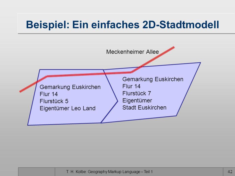 T. H. Kolbe: Geography Markup Language – Teil 1 41 Zusammenfassung GML3 ist der derzeit umfassendste Standard zur Repräsentation von Geodaten –0D-, 1D