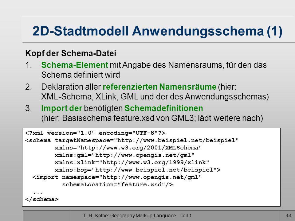 T. H. Kolbe: Geography Markup Language – Teil 1 43 UML-Diagramm für das 2D-Stadtmodell Stadtmodell Flurstück strname: string Strasse ** feature Member