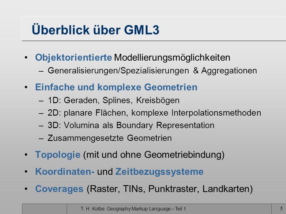 T. H. Kolbe: Geography Markup Language – Teil 1 4 Entwurfsziele von GML3 Offenes, herstellerneutrales Rahmenkonzept zur Definition raumbezogener Anwen