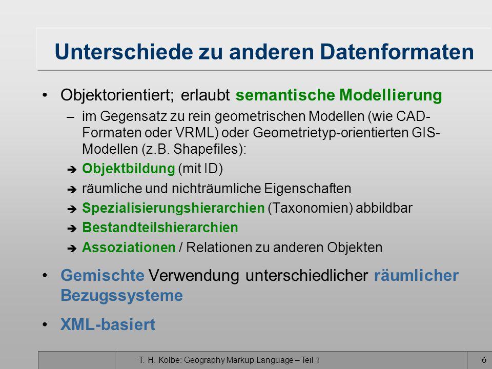 T. H. Kolbe: Geography Markup Language – Teil 1 5 Überblick über GML3 Objektorientierte Modellierungsmöglichkeiten –Generalisierungen/Spezialisierunge