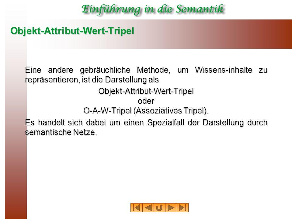 Objekt-Attribut-Wert-Tripel Eine andere gebräuchliche Methode, um Wissens-inhalte zu repräsentieren, ist die Darstellung als Objekt-Attribut-Wert-Tripel oder O-A-W-Tripel (Assoziatives Tripel).