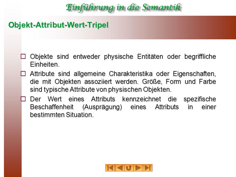 Objekt-Attribut-Wert-Tripel  Objekte sind entweder physische Entitäten oder begriffliche Einheiten.