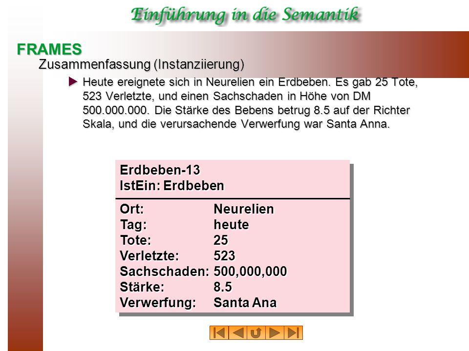 FRAMES Zusammenfassung (Instanziierung)  Heute ereignete sich in Neurelien ein Erdbeben.