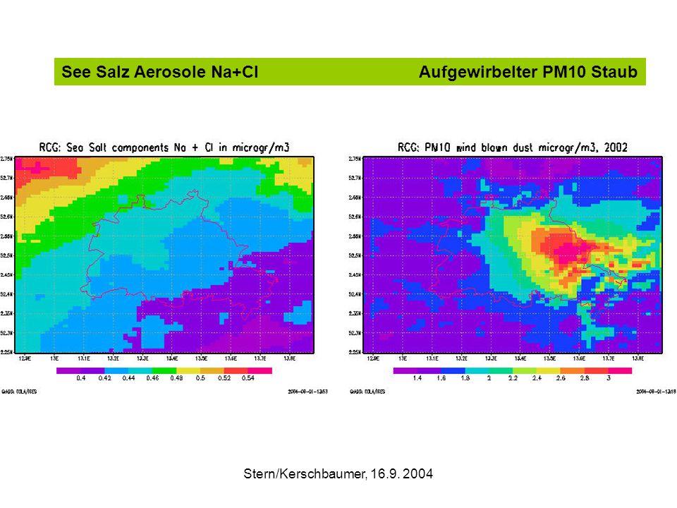 Stern/Kerschbaumer, 16.9. 2004 See Salz Aerosole Na+Cl Aufgewirbelter PM10 Staub