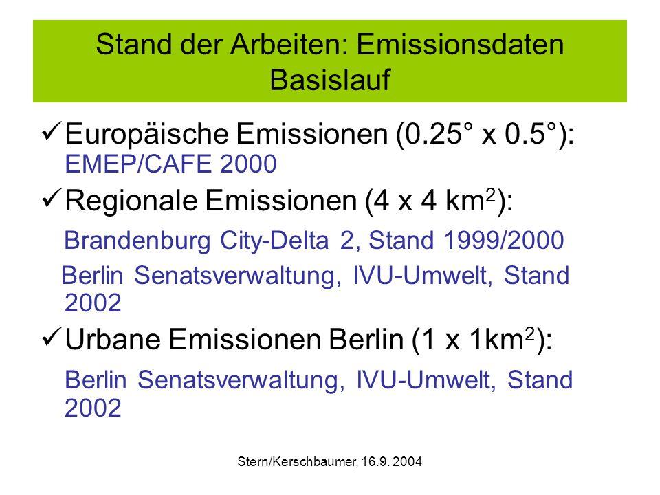 Stand der Arbeiten: Emissionsdaten Basislauf Europäische Emissionen (0.25° x 0.5°): EMEP/CAFE 2000 Regionale Emissionen (4 x 4 km 2 ): Brandenburg City-Delta 2, Stand 1999/2000 Berlin Senatsverwaltung, IVU-Umwelt, Stand 2002 Urbane Emissionen Berlin (1 x 1km 2 ): Berlin Senatsverwaltung, IVU-Umwelt, Stand 2002