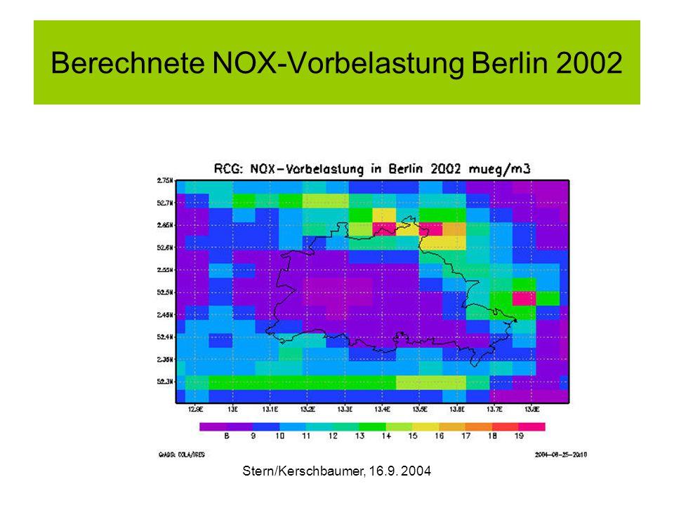 Stern/Kerschbaumer, 16.9. 2004 Berechnete NOX-Vorbelastung Berlin 2002