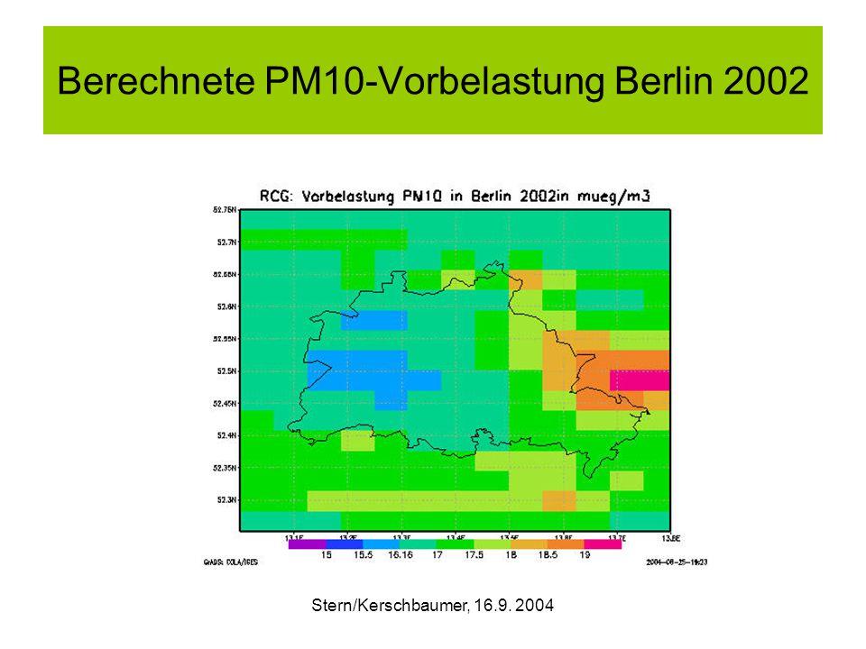 Stern/Kerschbaumer, 16.9. 2004 Berechnete PM10-Vorbelastung Berlin 2002