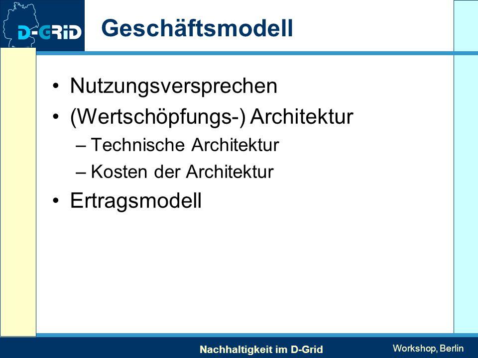 Nachhaltigkeit im D-Grid Workshop, Berlin Geschäftsmodell Nutzungsversprechen (Wertschöpfungs-) Architektur –Technische Architektur –Kosten der Architektur Ertragsmodell