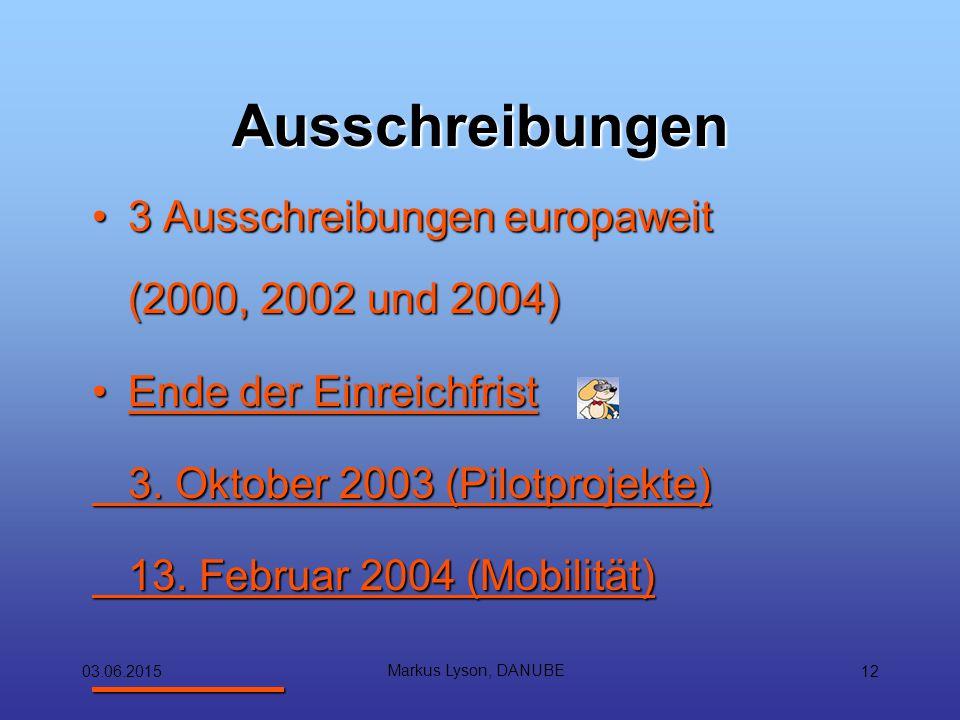 03.06.2015 Markus Lyson, DANUBE 12 Ausschreibungen 3 Ausschreibungen europaweit (2000, 2002 und 2004)3 Ausschreibungen europaweit (2000, 2002 und 2004) Ende der EinreichfristEnde der Einreichfrist 3.