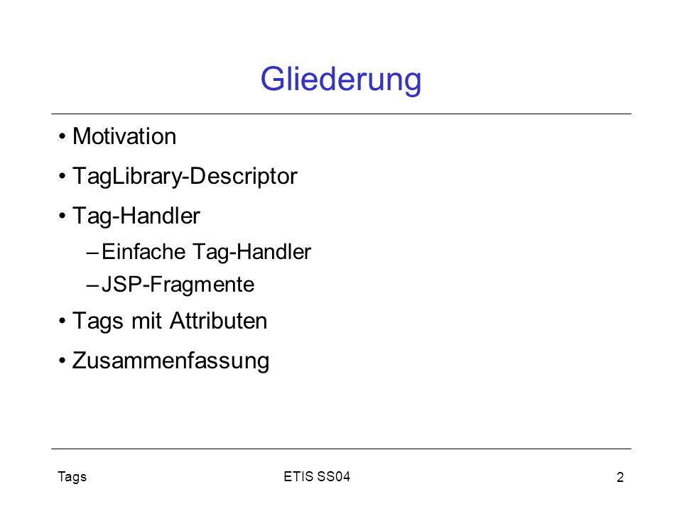 Tags 2 Gliederung Motivation TagLibrary-Descriptor Tag-Handler –Einfache Tag-Handler –JSP-Fragmente Tags mit Attributen Zusammenfassung