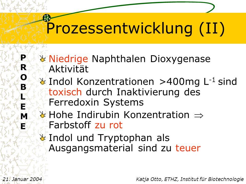 Prozessentwicklung (II) Niedrige Naphthalen Dioxygenase Aktivität Indol Konzentrationen >400mg L -1 sind toxisch durch Inaktivierung des Ferredoxin Systems Hohe Indirubin Konzentration  Farbstoff zu rot Indol und Tryptophan als Ausgangsmaterial sind zu teuer PROBLEMEPROBLEME Katja Otto, ETHZ, Institut für Biotechnologie21.