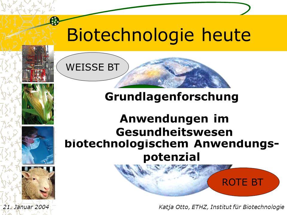 Chemisches Verfahren Gebrauch von N,N–dimethylanilin, (CH 3 ) 3 SiCl, PCl 5  GIFTIG Schutzgasatmosphäre Niedrige Temperaturen <0 o C  hoher Energieaufwand Aufwendige Abluftreinigung Aufwendige Abwasserreinigung Schwermetal Entsorgung (Verwendung von Zn-Salzen) Katja Otto, ETHZ, Institut für Biotechnologie21.