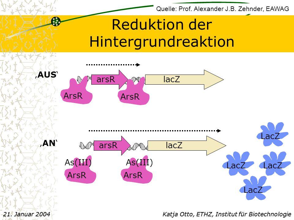 arsR lacZ ArsR arsR lacZ ArsR As(III) LacZ 'AUS' 'AN' Reduktion der Hintergrundreaktion Katja Otto, ETHZ, Institut für Biotechnologie21.