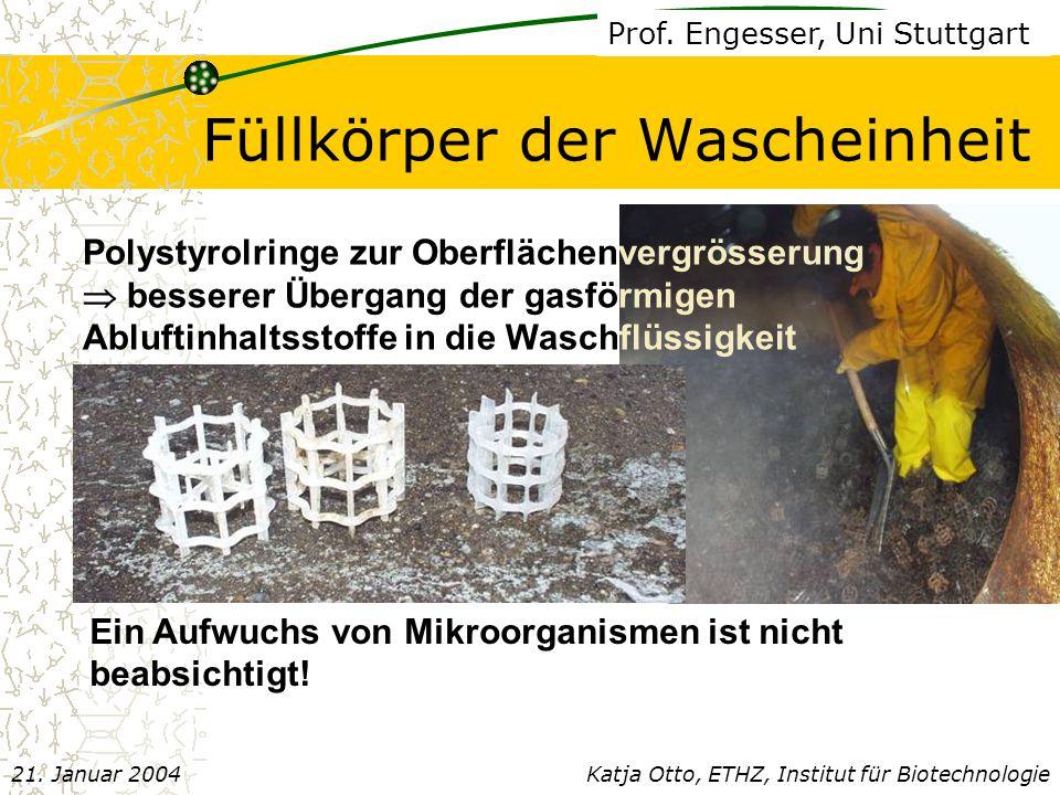 Füllkörper der Wascheinheit Ein Aufwuchs von Mikroorganismen ist nicht beabsichtigt.