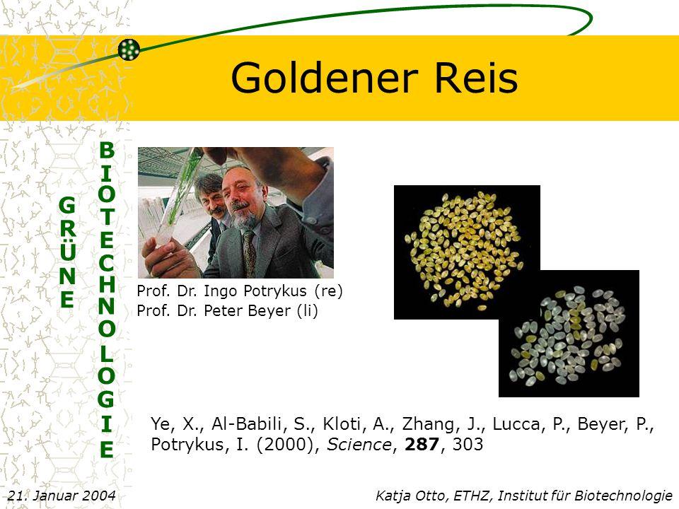 Goldener Reis N G R Ü E E B I O T E C H N O L O G I Prof.