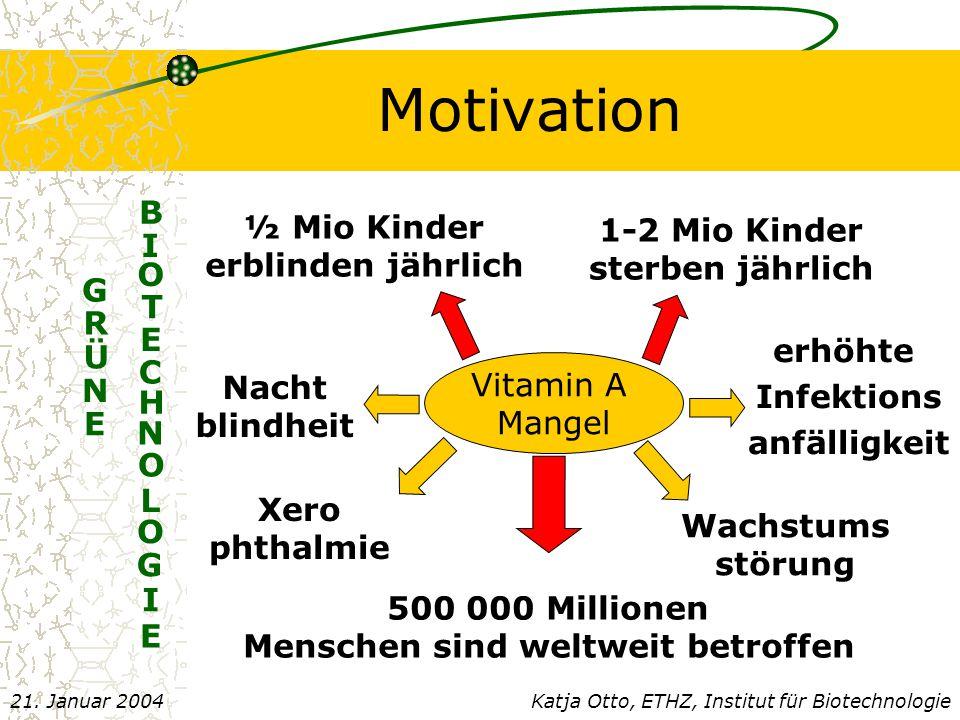 Motivation N G R Ü E E B I O T E C H N O L O G I Katja Otto, ETHZ, Institut für Biotechnologie21.