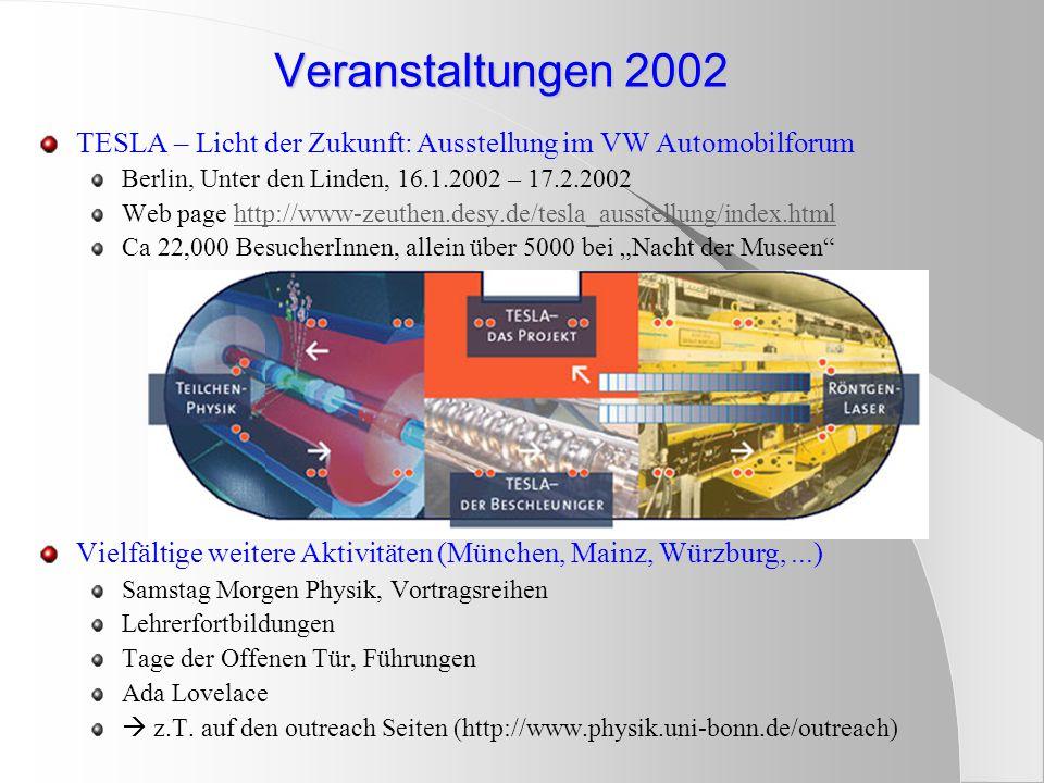 """TESLA – Licht der Zukunft: Ausstellung im VW Automobilforum Berlin, Unter den Linden, 16.1.2002 – 17.2.2002 Web page http://www-zeuthen.desy.de/tesla_ausstellung/index.htmlhttp://www-zeuthen.desy.de/tesla_ausstellung/index.html Ca 22,000 BesucherInnen, allein über 5000 bei """"Nacht der Museen Vielfältige weitere Aktivitäten (München, Mainz, Würzburg,...) Samstag Morgen Physik, Vortragsreihen Lehrerfortbildungen Tage der Offenen Tür, Führungen Ada Lovelace  z.T."""