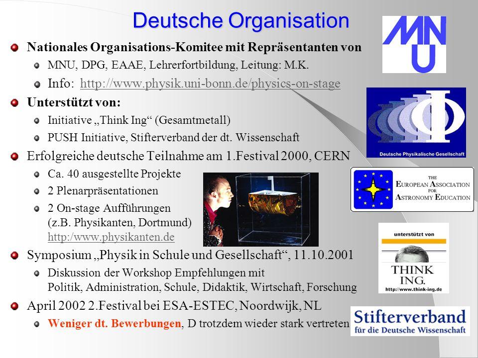 Deutsche Organisation Nationales Organisations-Komitee mit Repräsentanten von MNU, DPG, EAAE, Lehrerfortbildung, Leitung: M.K.