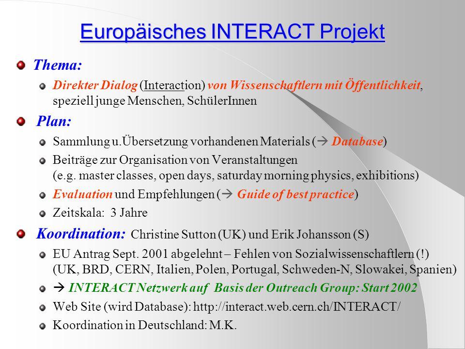 Europäisches INTERACT Projekt Thema: Direkter Dialog (Interaction) von Wissenschaftlern mit Öffentlichkeit, speziell junge Menschen, SchülerInnen Plan: Sammlung u.Übersetzung vorhandenen Materials (  Database) Beiträge zur Organisation von Veranstaltungen (e.g.