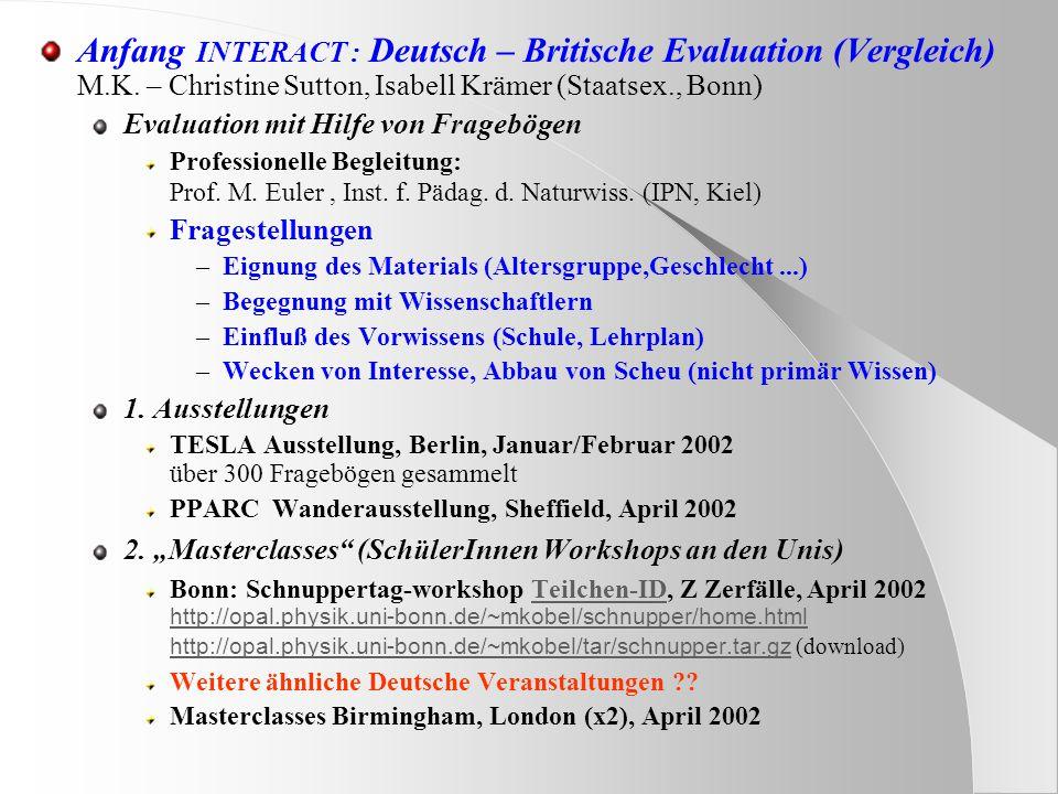 Anfang INTERACT : Deutsch – Britische Evaluation (Vergleich) M.K.