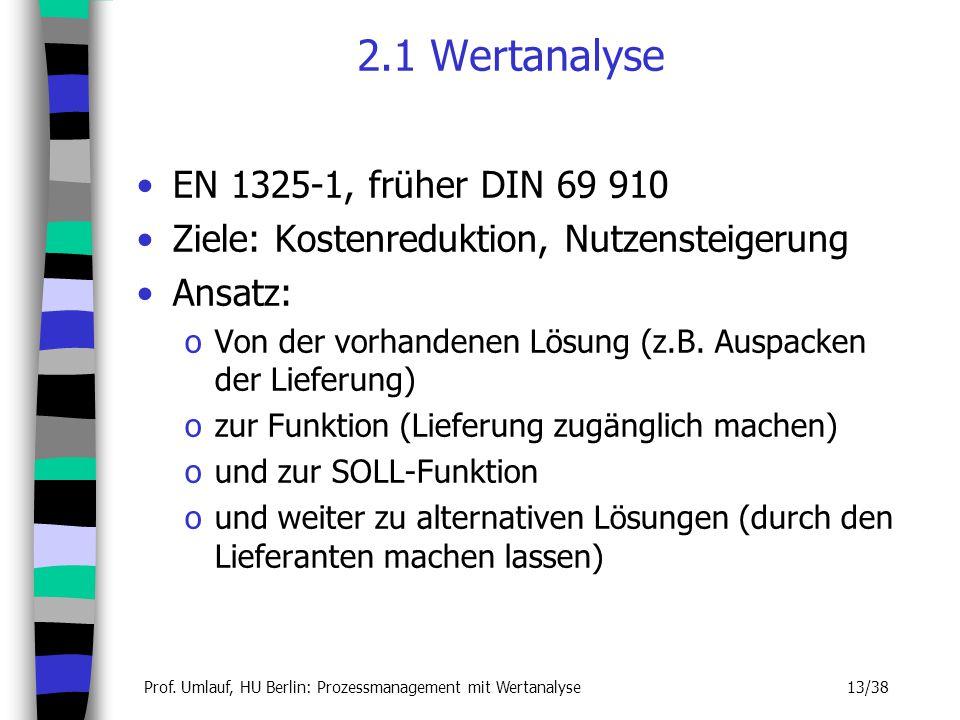 Prof. Umlauf, HU Berlin: Prozessmanagement mit Wertanalyse 13/38 2.1 Wertanalyse EN 1325-1, früher DIN 69 910 Ziele: Kostenreduktion, Nutzensteigerung