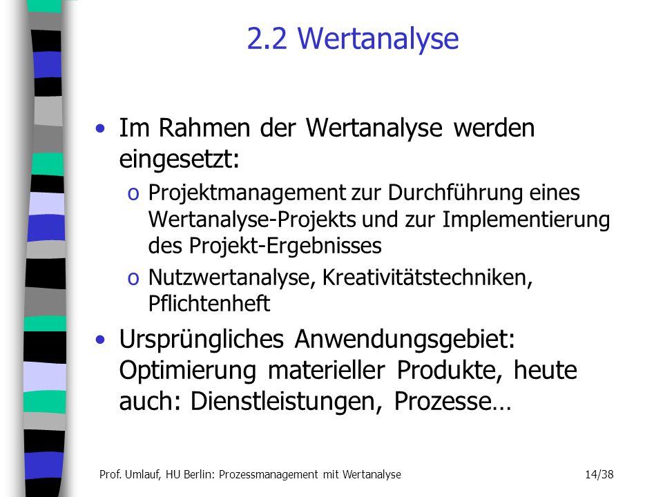 Prof. Umlauf, HU Berlin: Prozessmanagement mit Wertanalyse 14/38 2.2 Wertanalyse Im Rahmen der Wertanalyse werden eingesetzt: oProjektmanagement zur D
