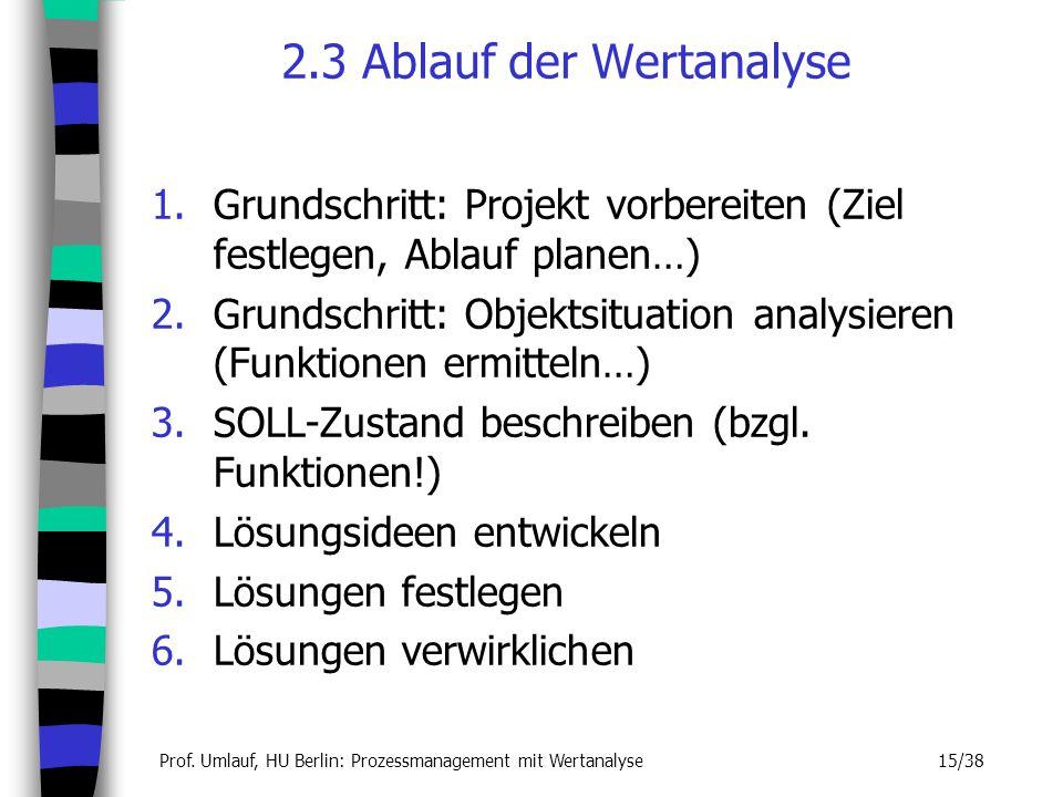 Prof. Umlauf, HU Berlin: Prozessmanagement mit Wertanalyse 15/38 2.3 Ablauf der Wertanalyse 1.Grundschritt: Projekt vorbereiten (Ziel festlegen, Ablau