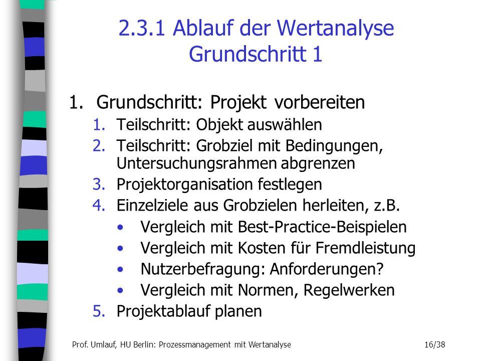 Prof. Umlauf, HU Berlin: Prozessmanagement mit Wertanalyse 16/38 2.3.1 Ablauf der Wertanalyse Grundschritt 1 1.Grundschritt: Projekt vorbereiten 1.Tei