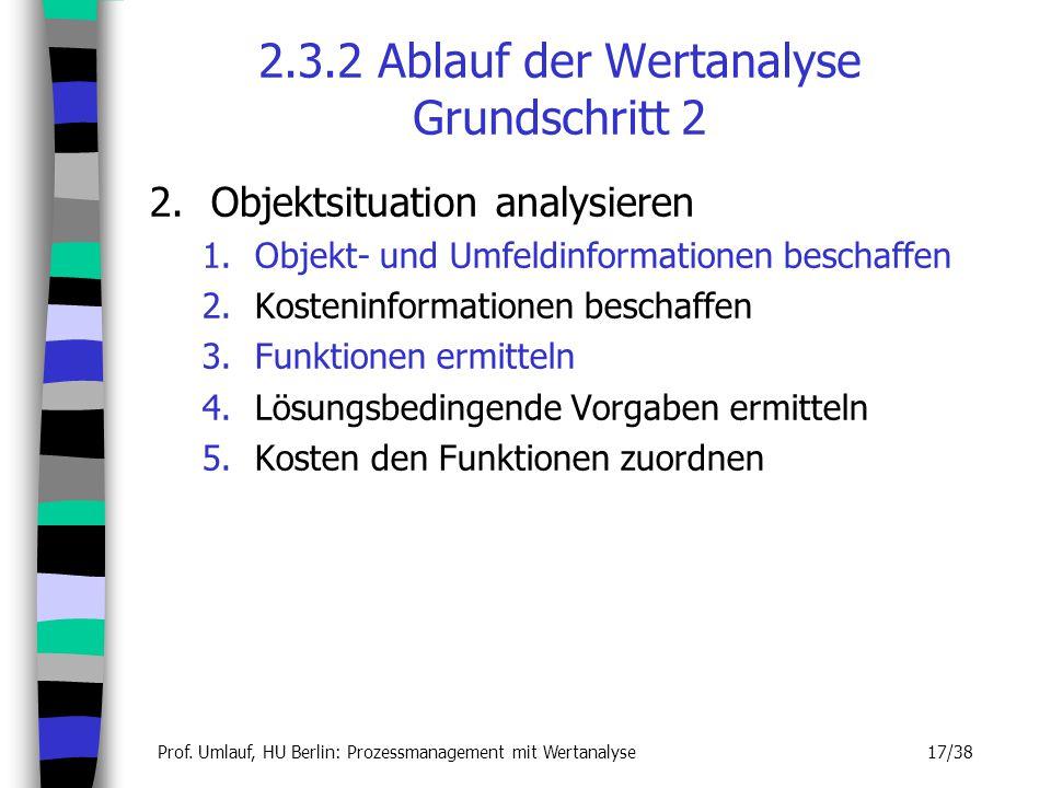 Prof. Umlauf, HU Berlin: Prozessmanagement mit Wertanalyse 17/38 2.3.2 Ablauf der Wertanalyse Grundschritt 2 2.Objektsituation analysieren 1.Objekt- u