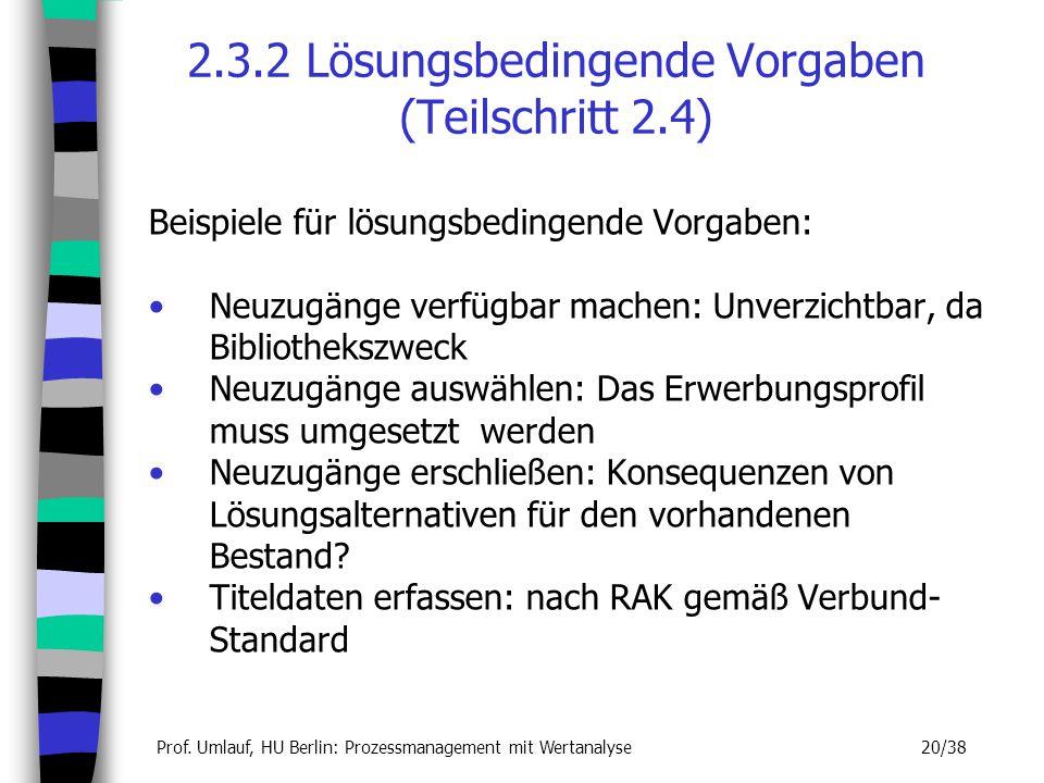 Prof. Umlauf, HU Berlin: Prozessmanagement mit Wertanalyse 20/38 2.3.2 Lösungsbedingende Vorgaben (Teilschritt 2.4) Beispiele für lösungsbedingende Vo