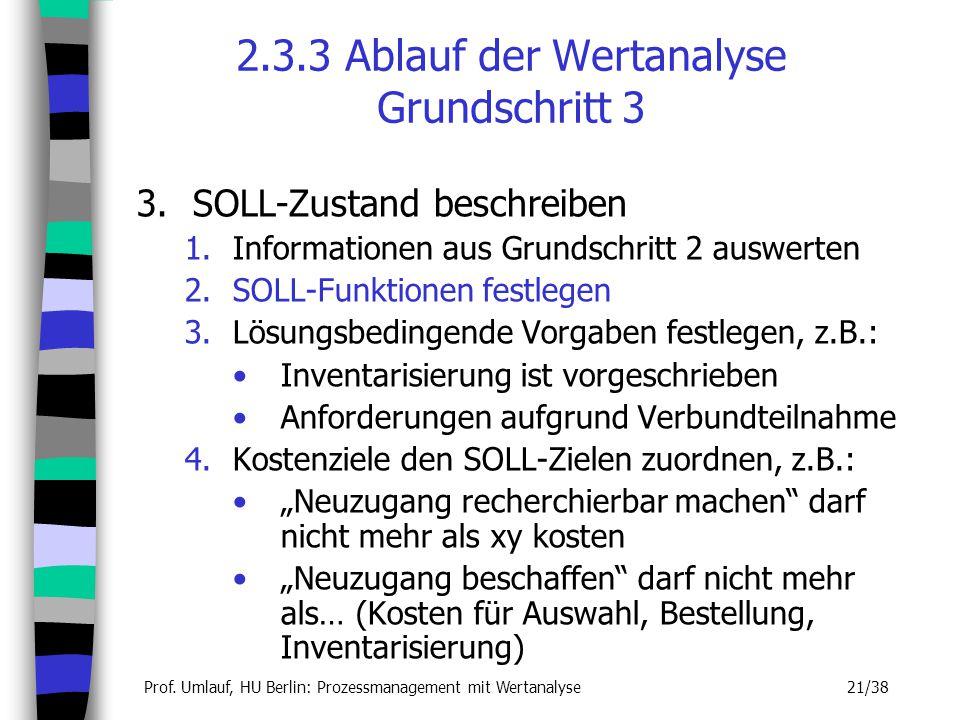 Prof. Umlauf, HU Berlin: Prozessmanagement mit Wertanalyse 21/38 2.3.3 Ablauf der Wertanalyse Grundschritt 3 3.SOLL-Zustand beschreiben 1.Informatione