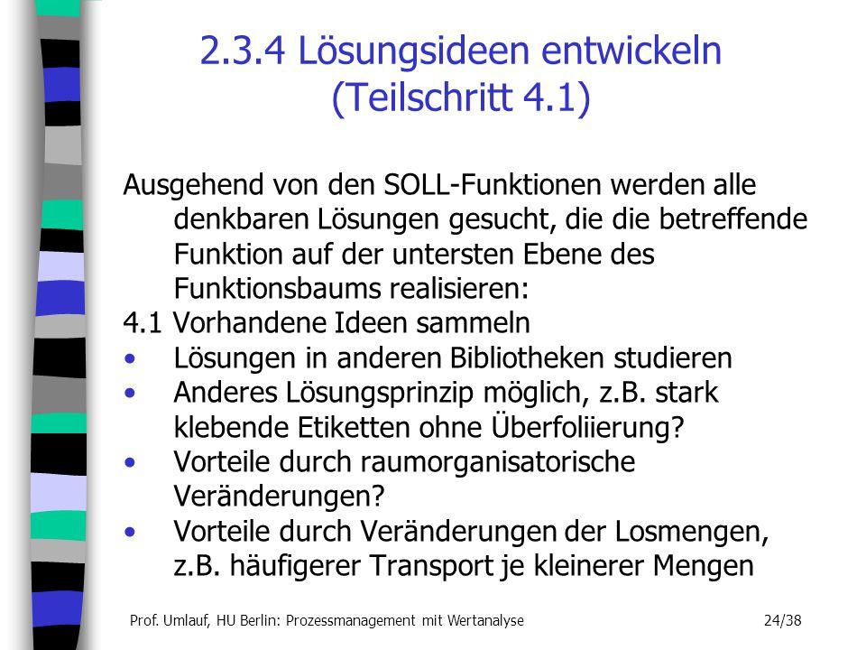 Prof. Umlauf, HU Berlin: Prozessmanagement mit Wertanalyse 24/38 2.3.4 Lösungsideen entwickeln (Teilschritt 4.1) Ausgehend von den SOLL-Funktionen wer