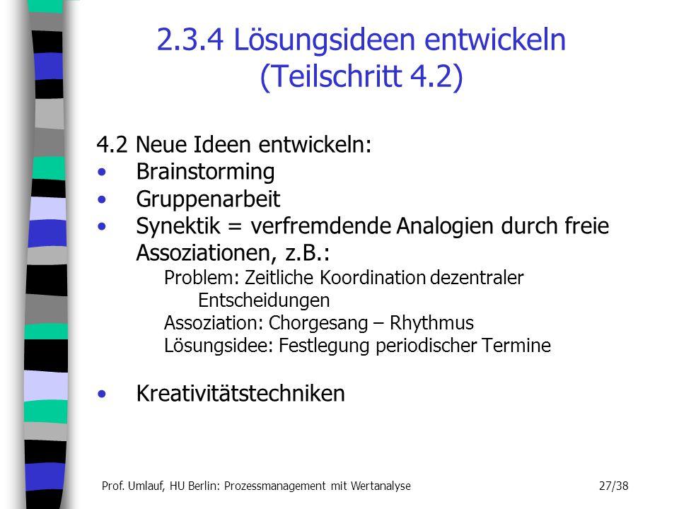 Prof. Umlauf, HU Berlin: Prozessmanagement mit Wertanalyse 27/38 2.3.4 Lösungsideen entwickeln (Teilschritt 4.2) 4.2 Neue Ideen entwickeln: Brainstorm